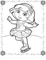 Раскраска Даша в платье снежинки на коньках
