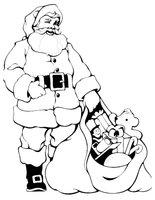 Раскраска Дед Мороз показывает подарки