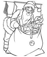 Раскраска Дед Мороз с огромным мешком подарков