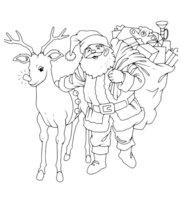 Раскраска Дед Мороз с оленем и мешком подарков