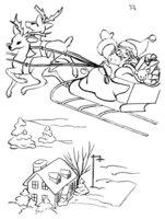 Раскраска Дед Мороз в оленьей упряжке