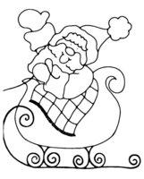 Раскраска Дедушка Мороз едет на санях