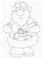 Раскраска Дедушка Мороз с охапкой подарков