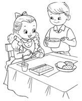 Раскраска Дети готовятся к Пасхе