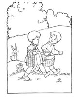 Раскраска Дети идут на пикник