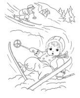 Раскраска Дети на лыжах