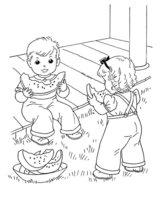 Раскраска Дети с арбузом