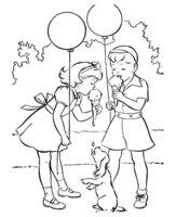 Раскраска Дети с мороженым
