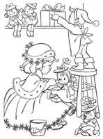 Раскраска Дети с рождественскими подарками