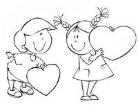 Раскраска Дети с валентинками