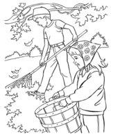 Раскраска Дети убирают листья