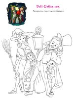 Раскраска Дети в костюмах на Хэллоуин