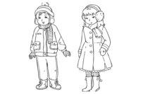Раскраска Дети в зимней одежде