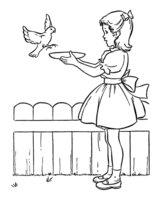 Раскраска Девочка кормит птичку