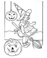 Раскраска Девочка на Хэллоуин