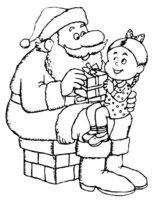 Раскраска Девочка на коленях у Дедушки Мороза