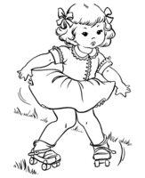 Раскраска Девочка на роликах