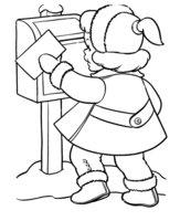 Раскраска Девочка отправляет письмо Деду Морозу