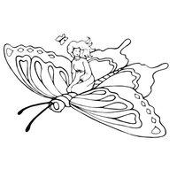 Раскраска Девочка путешествует на бабочке