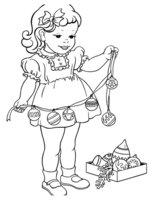 Раскраска Девочка с новогодней гирляндой
