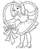Раскраска Девочка с огромным сердцем