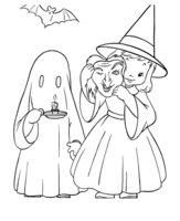 Раскраска Девочка с привидением