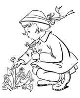 Раскраска Девочка собирает весенние цветы
