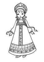 Раскраска Девочка в национальном костюме