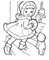 Раскраска Девочка в рождественской меховой шубке