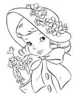 Раскраска Девочка в шляпке на Пасху