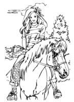 Раскраска Девушка на лошади