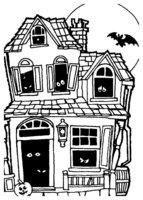 Раскраска Дом с привидениями на Хэллоуин