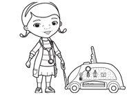 Раскраска Дотти и её набор доктора