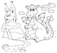 Раскраска Дракон охраняет замок