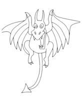 Раскраска Дракон с хвостом-стрелой
