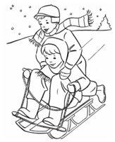 Раскраска Два мальчика на санках