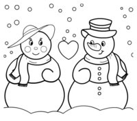 Раскраска Два влюбленных Снеговика