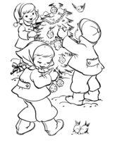 Раскраска Две девочки и мальчик украшают елку