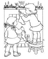 Раскраска Две сестрички вешают носочки для подарков