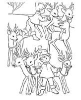 Раскраска Эльфы и олени