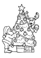Раскраска Елку украшают Дед Мороз и олень