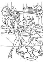 Раскраска Флора и сердечки