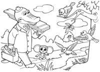 Раскраска Гена и Чебурашка готовят доски