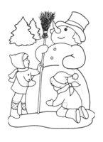 Раскраска Гордый Снеговик получил в подарок метелку