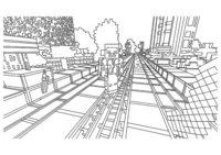 Раскраска Город Minecraft