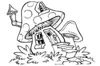 Раскраска Грибной домик