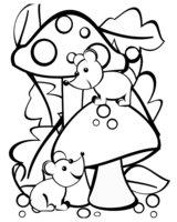 Раскраска Грибы и мышки