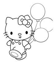 Раскраска Hello Kitty и воздушные шары
