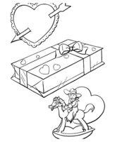 Раскраска Игрушки на День Святого Валентина