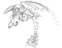Раскраска Иккинг и Беззубик по точкам